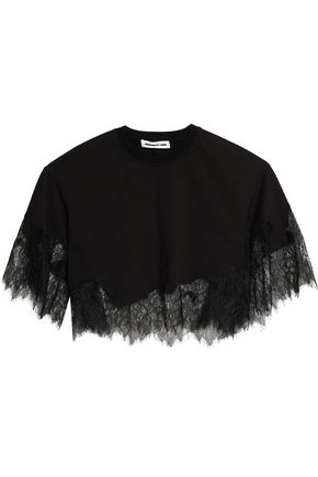 McQ Alexander McQueen Chantilly lace-paneled cotton-blend top
