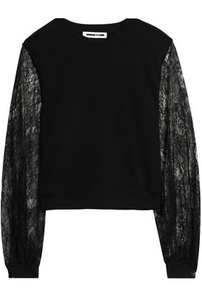McQ Alexander McQueen Lace-paneled cotton-jersey sweatshirt