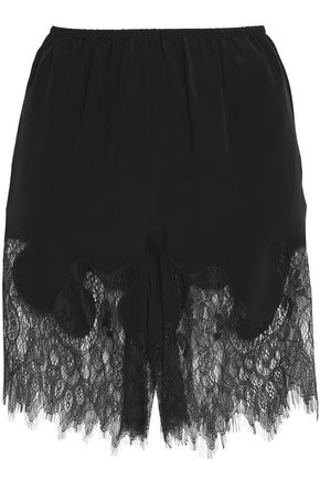 McQ Alexander McQueen Chantilly lace-paneled scalloped crepe de chine shorts