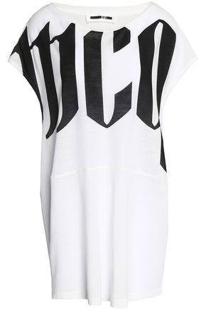 McQ Alexander McQueen Draped printed slub cotton-jersey T-shirt