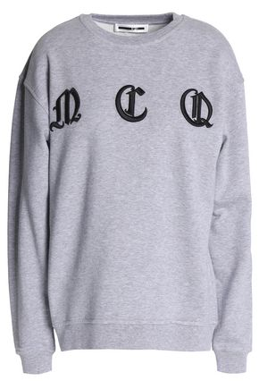McQ Alexander McQueen Embroidered mélange cotton-jersey sweatshirt