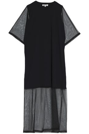 McQ Alexander McQueen Cotton jersey-paneled tulle maxi dress