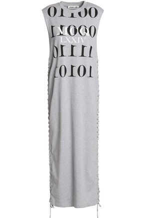 McQ Alexander McQueen Lace up-embellished printed mélange cotton-jersey midi dress