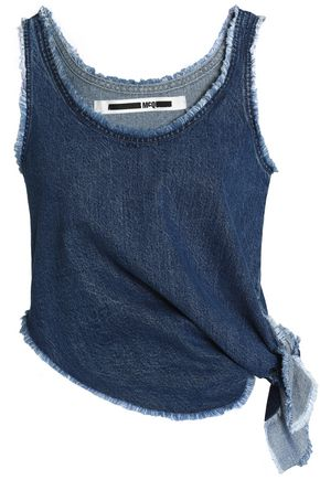 McQ Alexander McQueen Frayed knotted denim top