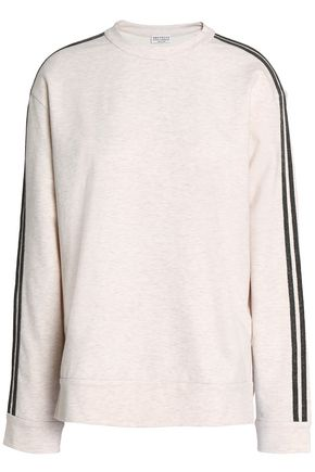 BRUNELLO CUCINELLI Crystal-embellished mélange cotton-blend sweater