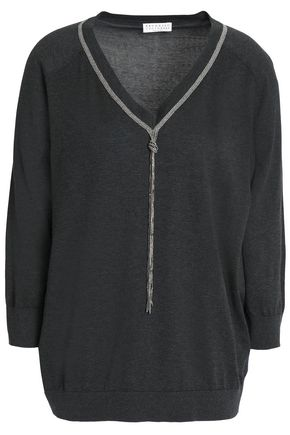 BRUNELLO CUCINELLI Crystal-embellished cotton sweater