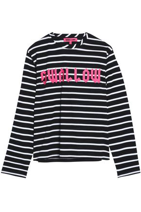 McQ Alexander McQueen Striped printed cotton-piqué top