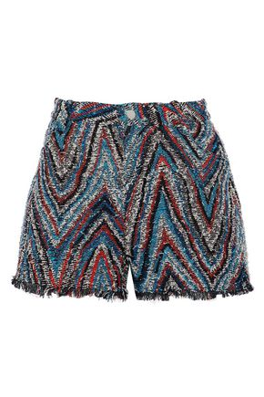 IRO Frayed cotton-blend tweed shorts