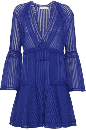 IRO Wrap-effect striped cotton-blend point d'esprit mini dress