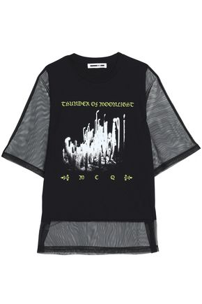 McQ Alexander McQueen Tulle-paneled printed cotton-jersey T-shirt