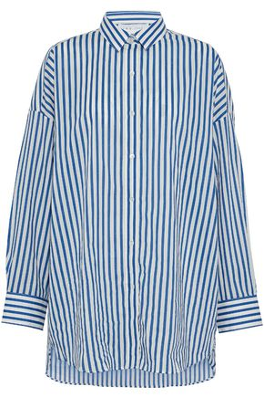 WOMAN STRIPED COTTON-POPLIN SHIRT WHITE