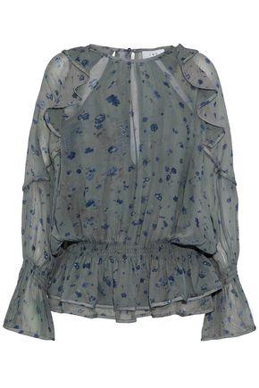 IRO Cutout ruffled floral-print chiffon peplum blouse