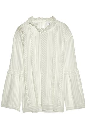 IRO Striped cotton-blend point d'esprit blouse