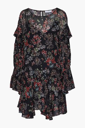 IRO Ruffled floral-print chiffon mini dress