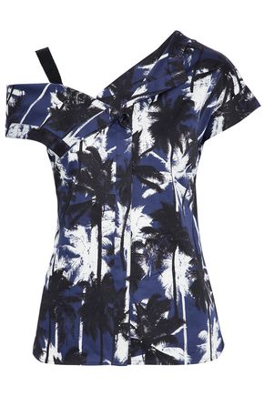 JASON WU Asymmetric cold-shoulder printed cotton-sateen top