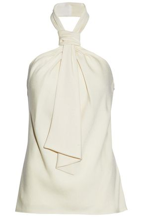 JASON WU Knotted gathered crepe de chine halterneck top