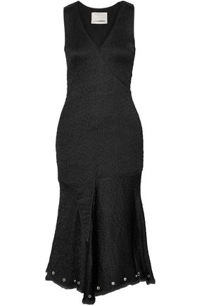 JASON WU Wrap-effect eyelet-embellished frayed matelassé dress
