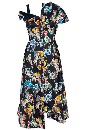 JASON WU Asymmetric floral-print cotton-voile shirt dress