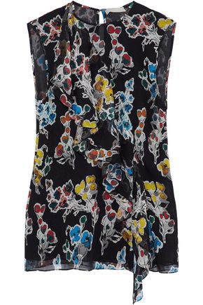 JASON WU Ruffled floral-print crinkled silk-georgette top
