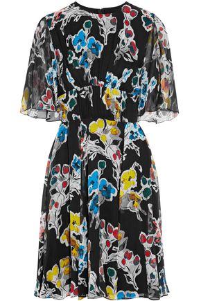 JASON WU Fluted floral-print crinkled silk-georgette dress