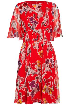 JASON WU Fluted floral-print crinkled silk-georgette dress