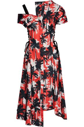 JASON WU One-shoulder lace-up printed cotton-poplin dress