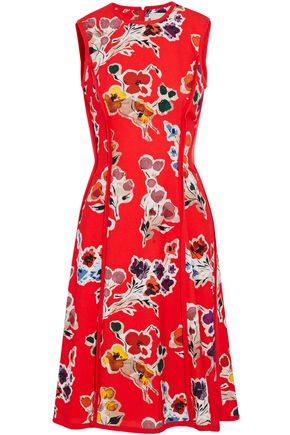 JASON WU Frayed georgette-trimmed floral-print crepe dress