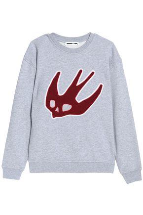 McQ Alexander McQueen Flocked mélange cotton-jersey sweatshirt