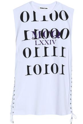 McQ Alexander McQueen Lace up-embellished printed cotton-jersey T-shirt