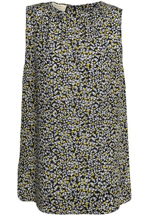 MARNI Gathered printed silk blouse