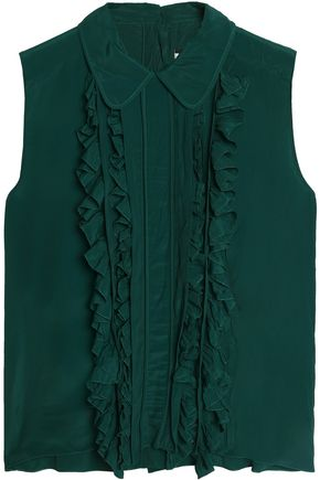 MARNI Ruffle-trimmed pleated crepe blouse