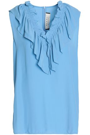 MARNI Ruffle-trimmed crepe blouse