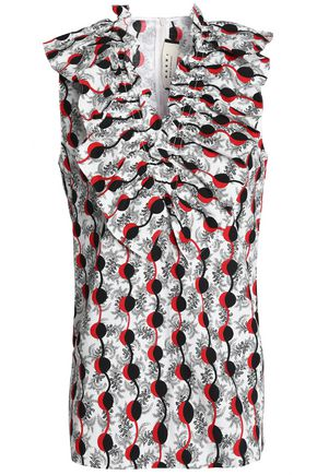 MARNI Ruffle-trimmed printed cotton-poplin top