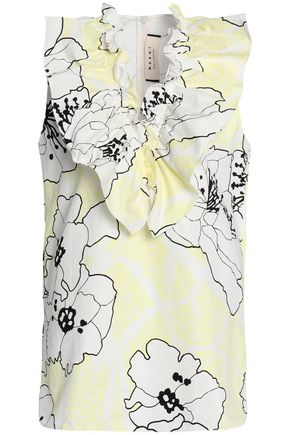 MARNI Ruffled floral-print cotton and linen-blend top