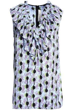 MARNI Ruffle-trimmed printed silk top