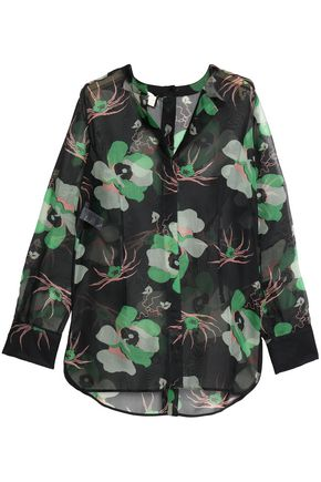 MARNI Floral-print silk-organza blouse