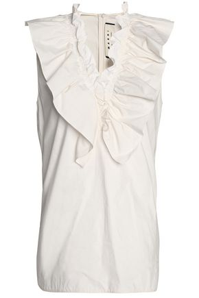 MARNI Ruffle-trimmed cotton-poplin top