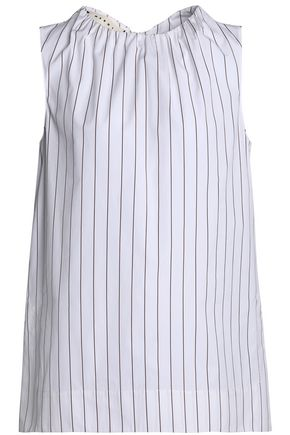 MARNI Gathered pinstriped cotton-poplin top