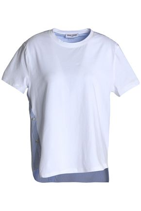 OPENING CEREMONY Cotton poplin-paneled cotton-jersey T-shirt