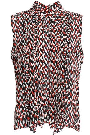 MARNI Pintucked printed silk-crepe de chine shirt