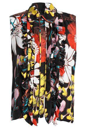 MARNI Pintucked floral-print silk-crepe de chine shirt