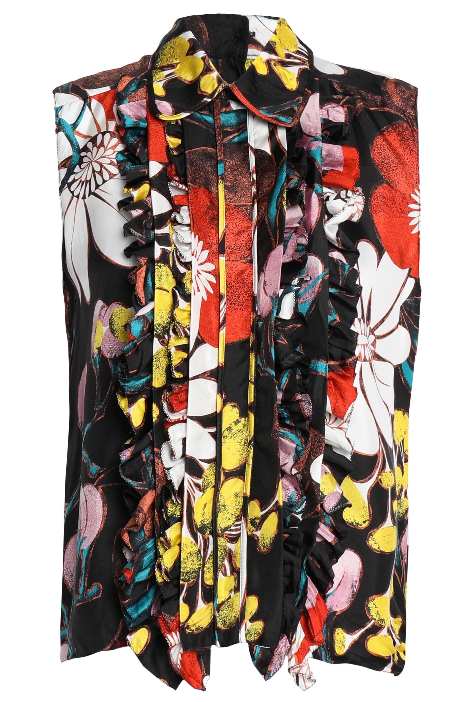 マルニ Woman ラッフルトリム フローラルプリント シルクツイル ブラウス Multicolor Size 40