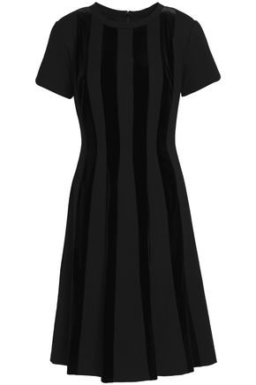 MIKAEL AGHAL Flared satin-paneled cotton-blend dress