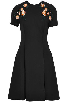 JASON WU Appliquéd pleated crepe dress