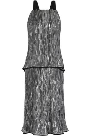 JASON WU Open-back layered crinkled silk-blend lamé midi dress
