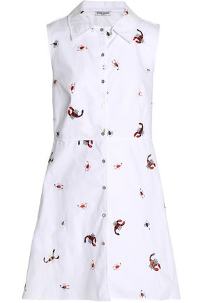 OPENING CEREMONY Embroidered cotton-poplin shirt dress
