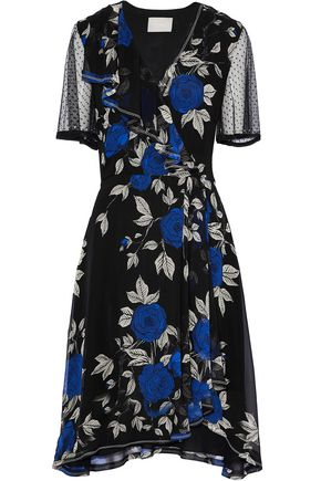 JASON WU Point d'esprit-paneled ruffled floral-print silk crepe de chine dress