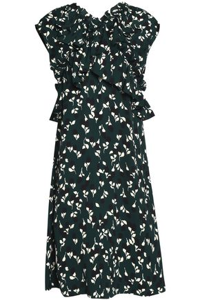 MARNI Ruffled printed crepe dress
