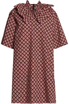 MARNI Ruffle-trimmed printed cotton-poplin dress