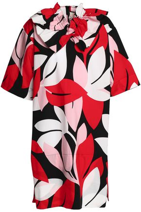 MARNI Ruffle-trimmed printed cotton-poplin mini dress